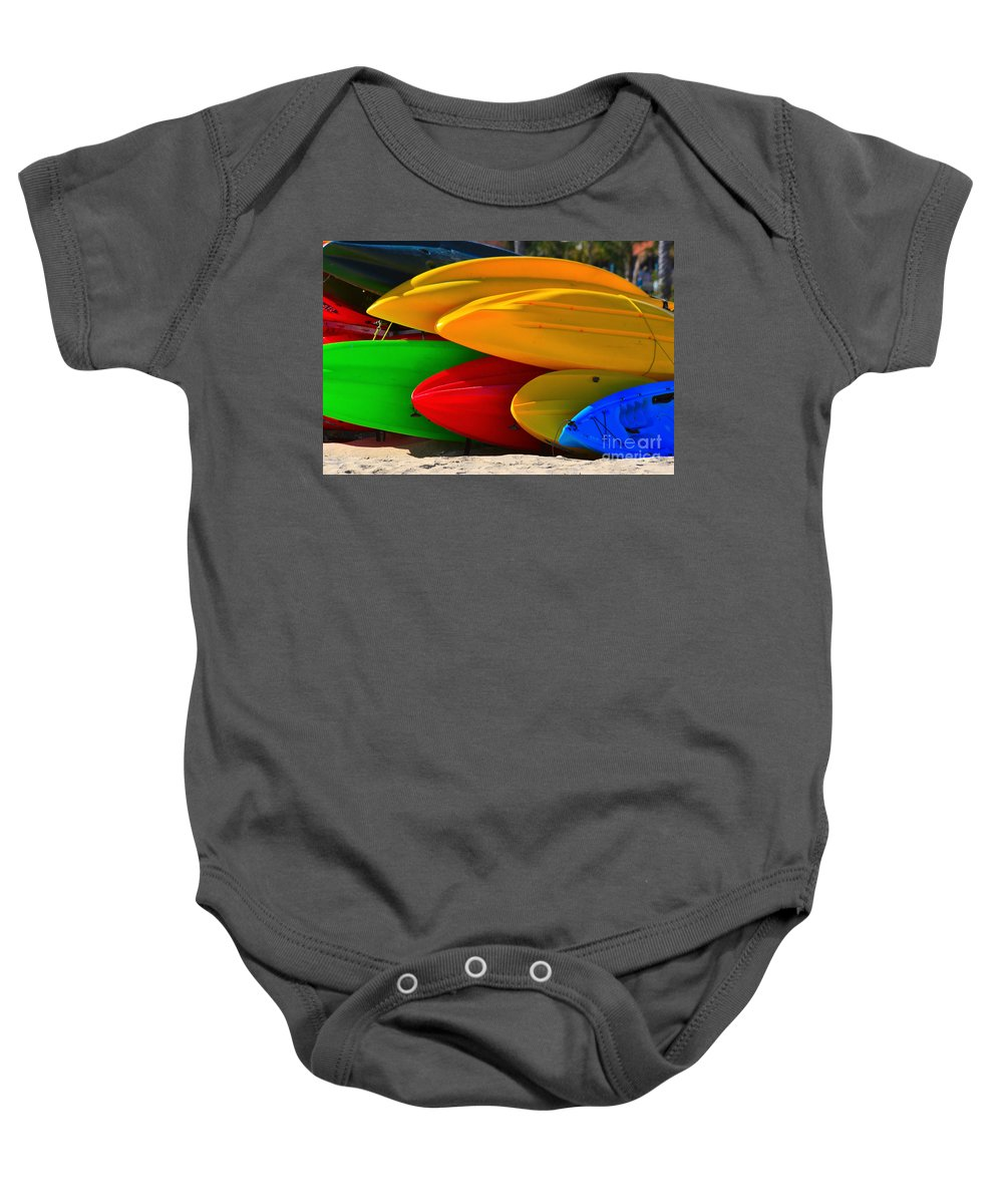 Kayaks Baby Onesie featuring the photograph Kayaks On The Beach by James BO Insogna