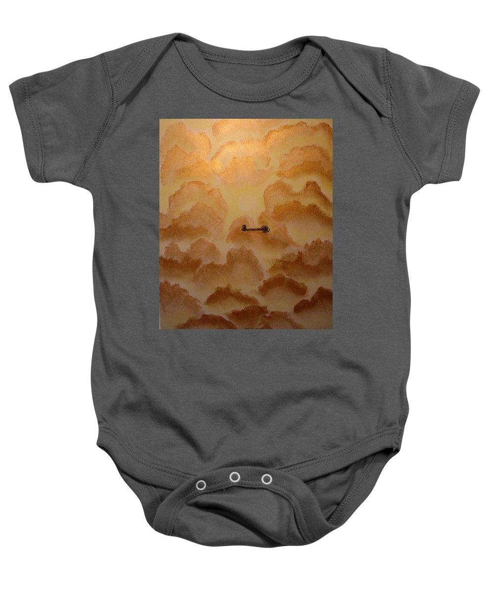 Gold Baby Onesie featuring the painting Keys To The Kingdom by Laurie Kidd