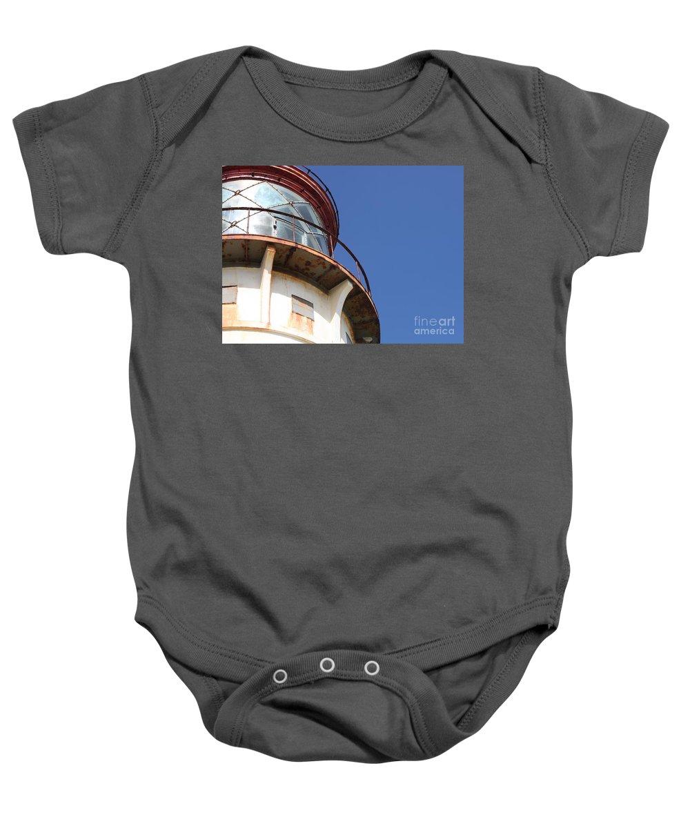 Kilauea Baby Onesie featuring the photograph Kilauea Lighthouse Against The Sky by Nadine Rippelmeyer