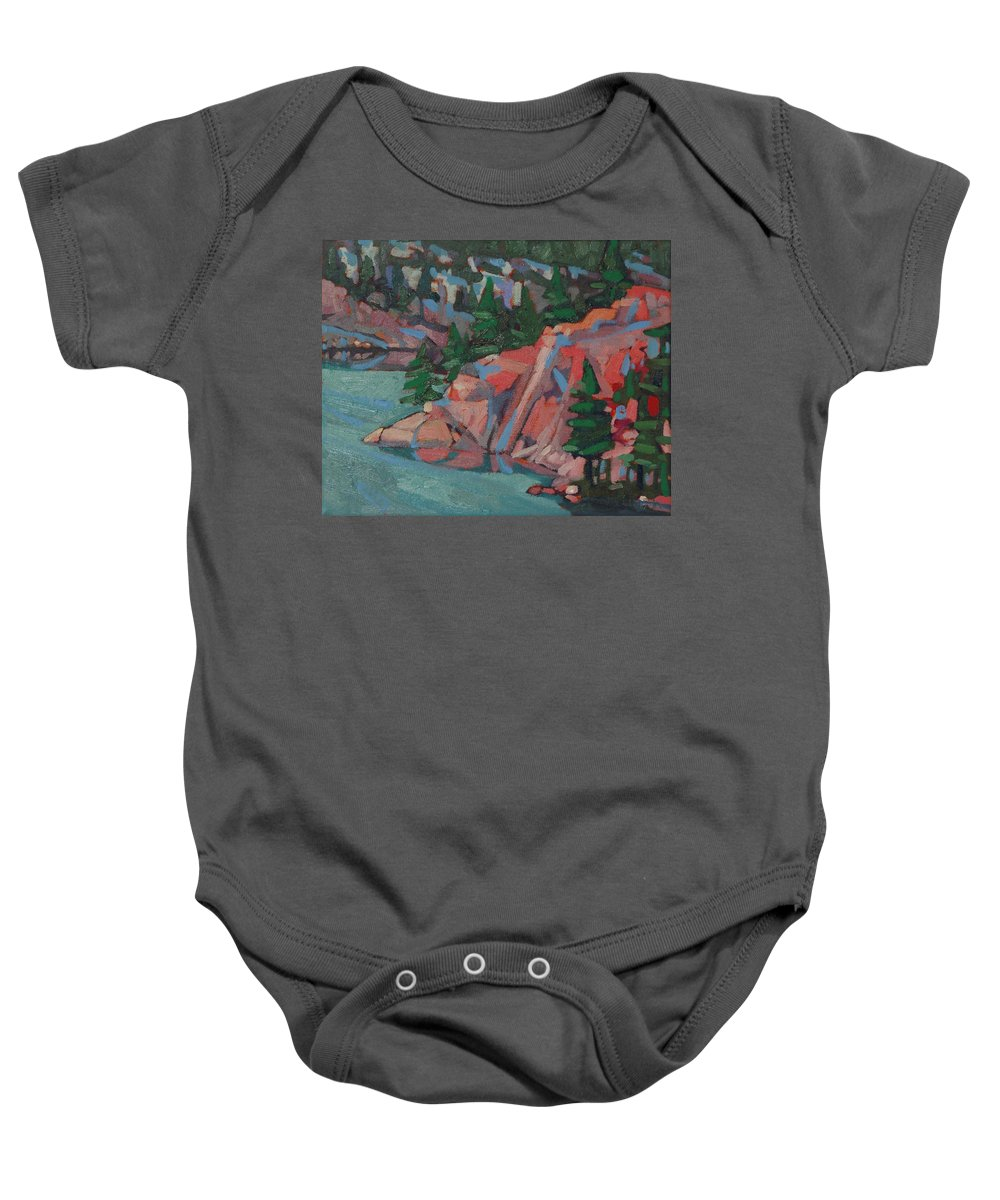 2033 Baby Onesie featuring the painting Killarney George Lake Sentinel by Phil Chadwick