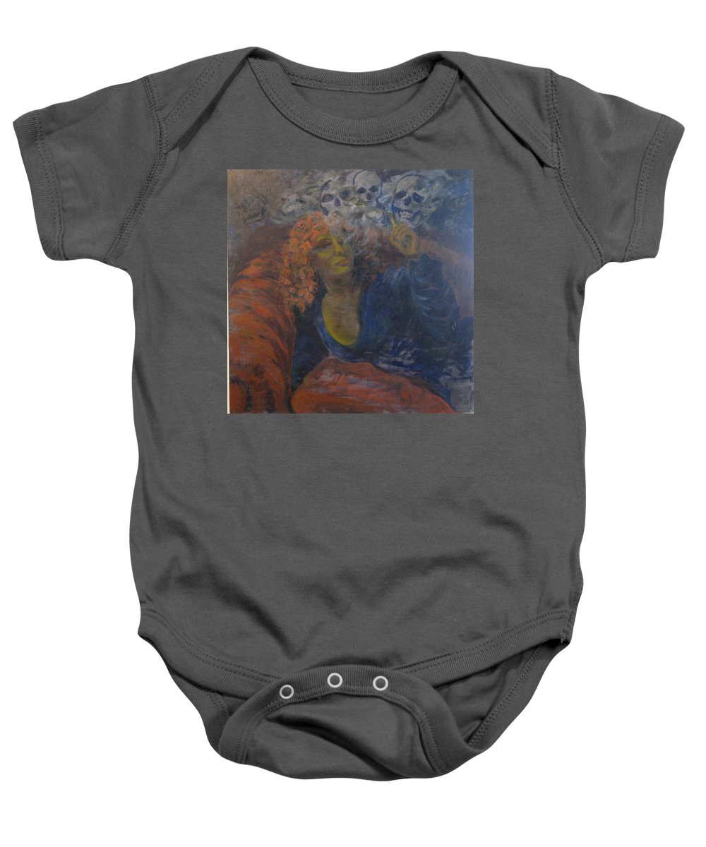 Woman Baby Onesie featuring the painting Killing Me Softly by Connie Freid