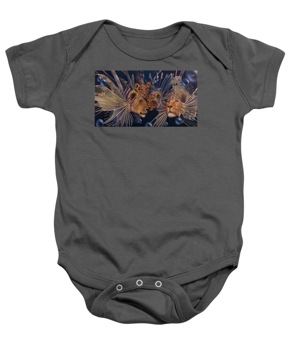 Lion Baby Onesie featuring the painting Kindred Lionfish by Patrick Anthony Pierson