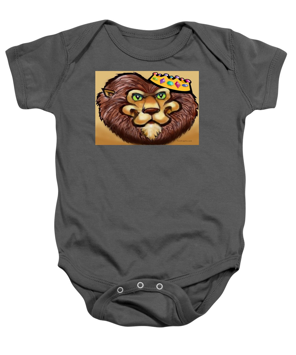 Lion Baby Onesie featuring the digital art King by Kevin Middleton