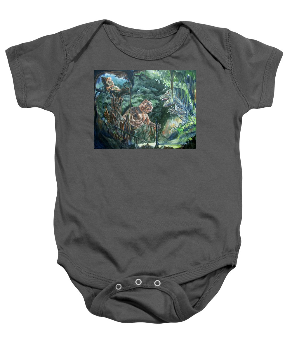 King Kong Baby Onesie featuring the painting King Kong Vs T-rex by Bryan Bustard