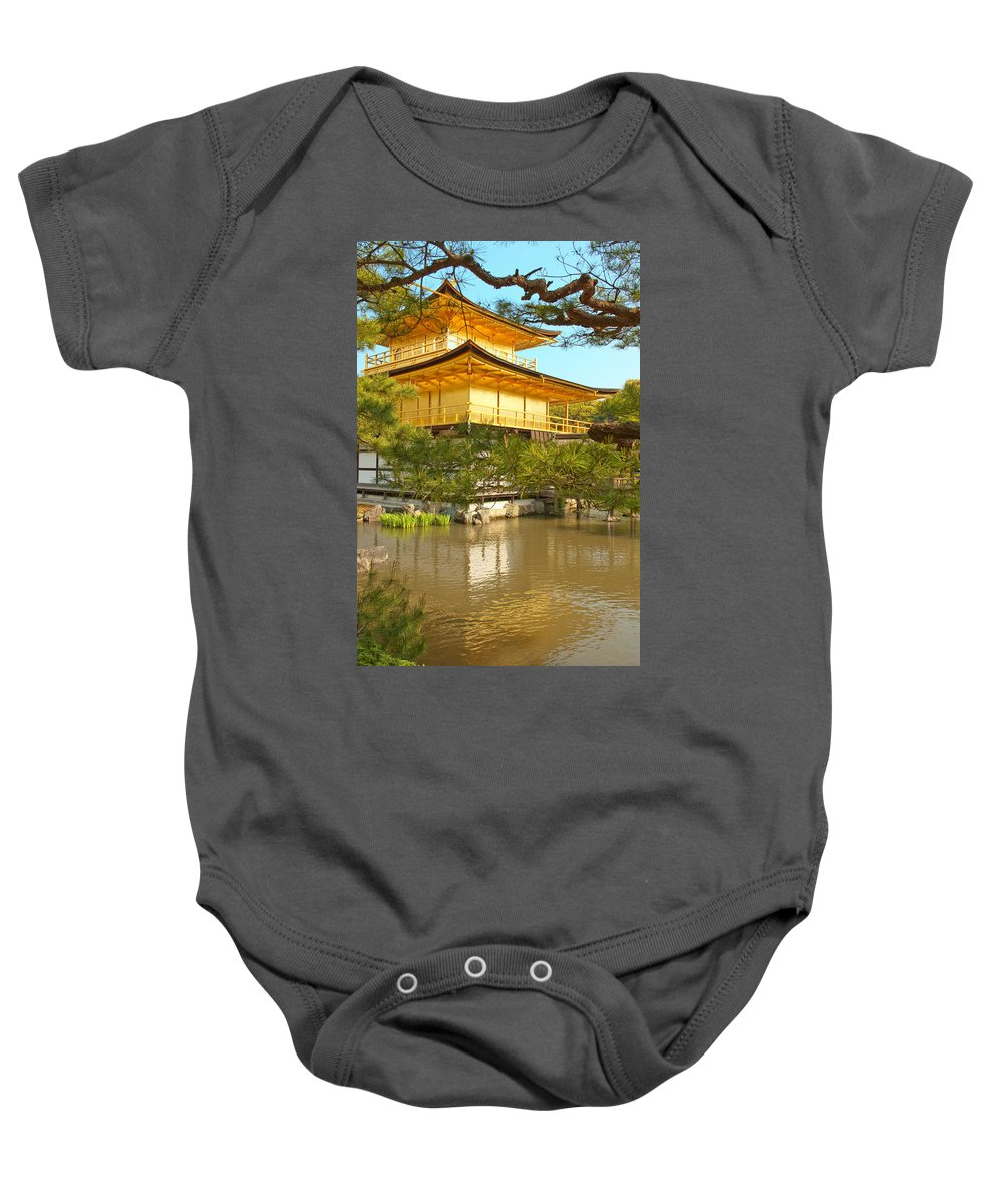 Japan Baby Onesie featuring the photograph Kinkakuji Golden Pavilion Kyoto by Sebastian Musial
