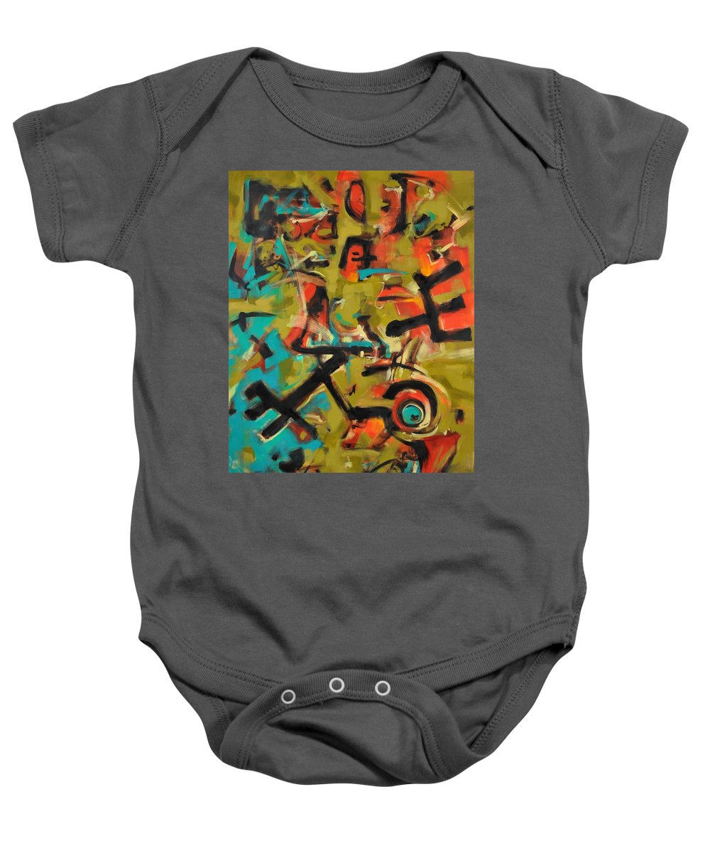 Abstract Expressionist Baby Onesie featuring the painting Kinship by Ric Castro