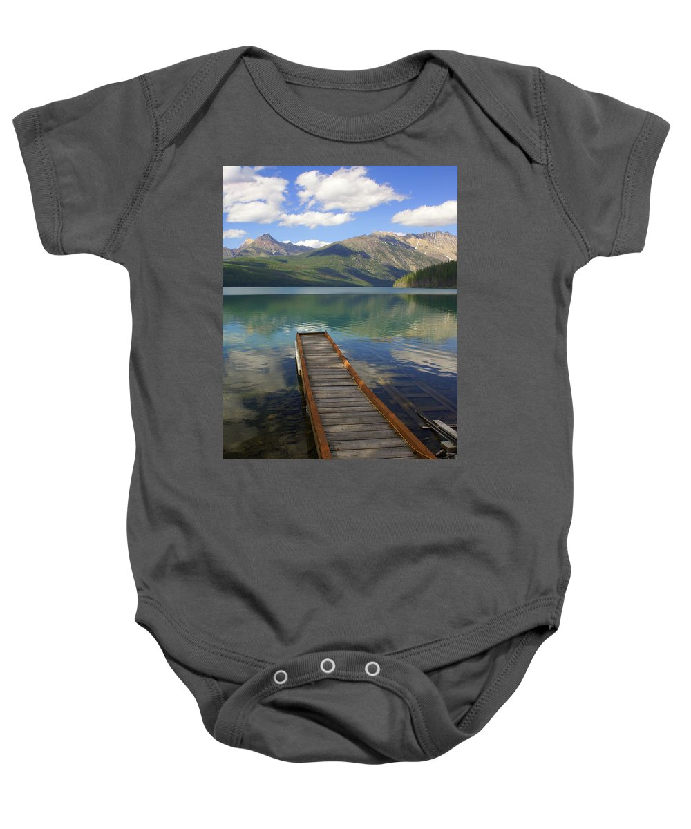 Glacier National Park Baby Onesie featuring the photograph Kintla Lake Dock by Marty Koch