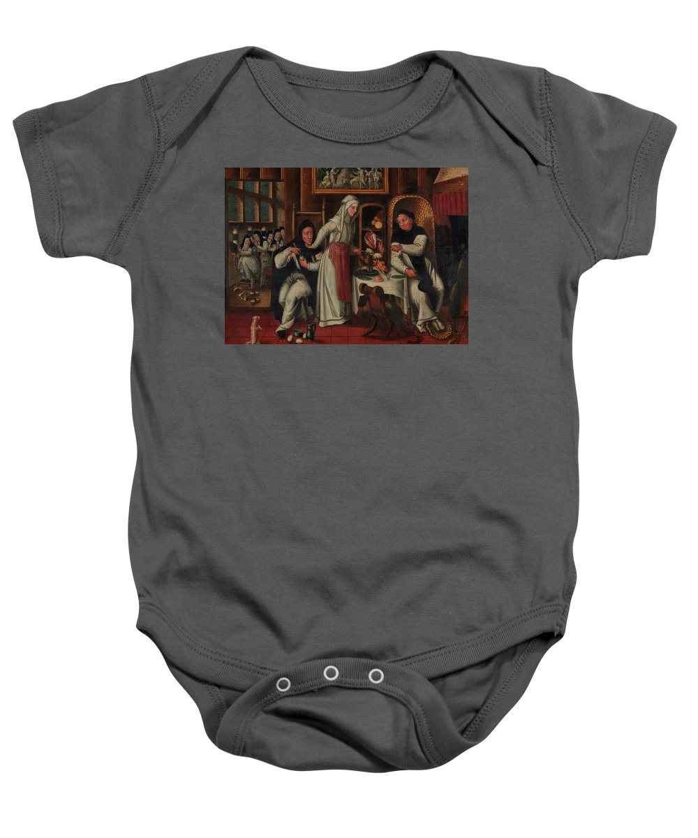 Flemish School Baby Onesie featuring the painting Kitchen In A Convent by MotionAge Designs