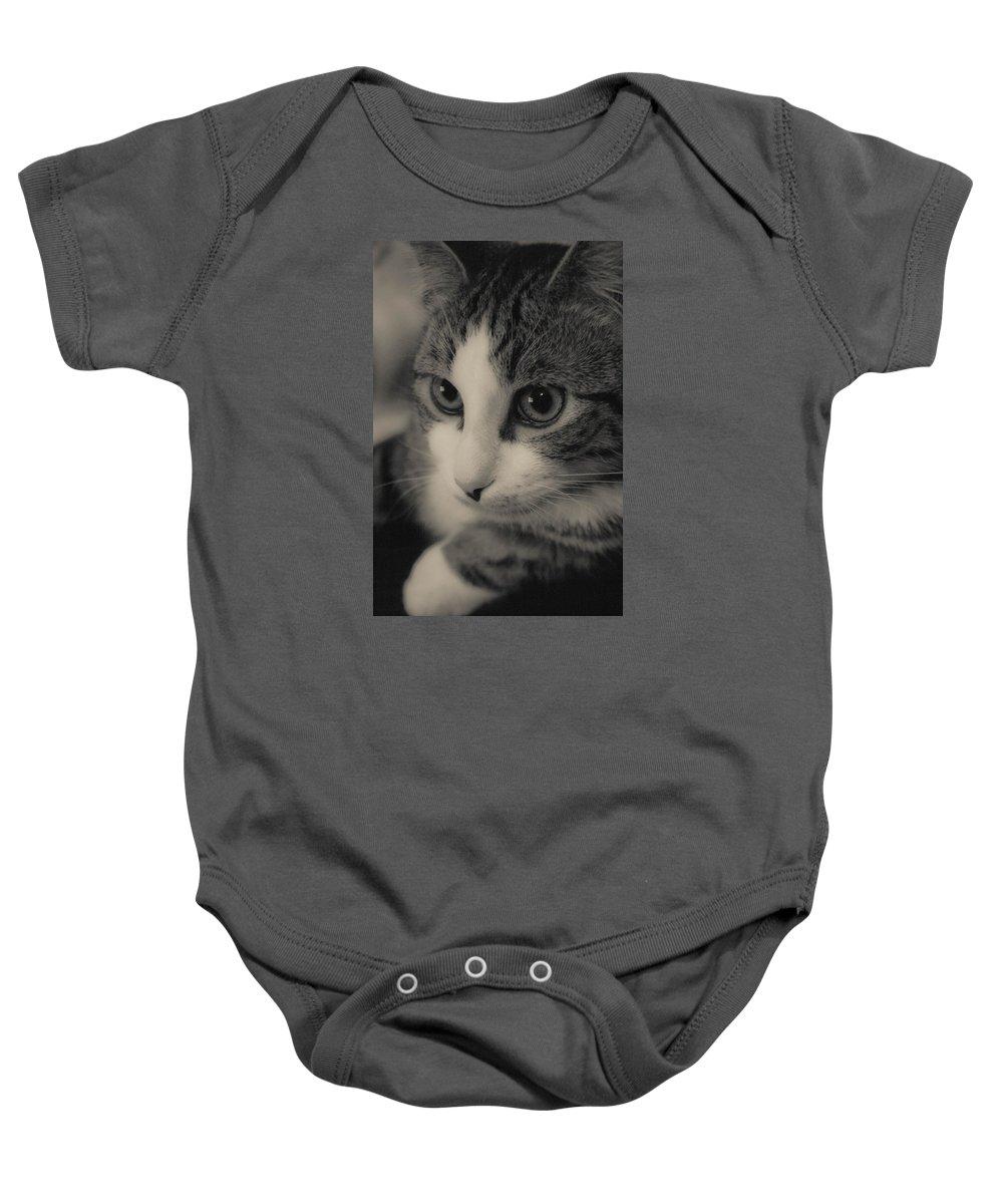 Cat Baby Onesie featuring the digital art Kitty by Angelique Tisserand