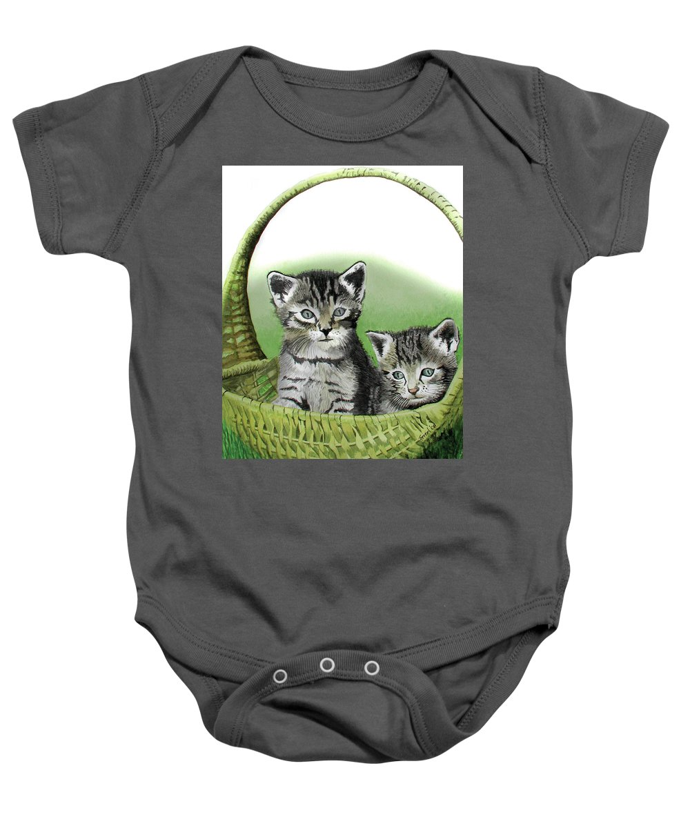 Cat Baby Onesie featuring the painting Kitty Caddy by Ferrel Cordle