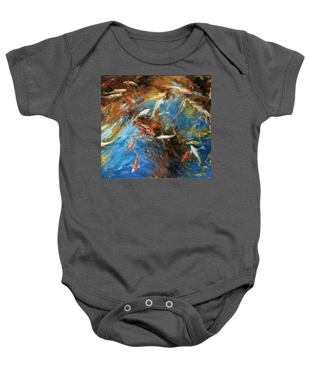 Marine Baby Onesie featuring the painting Koi I by Rick Nederlof
