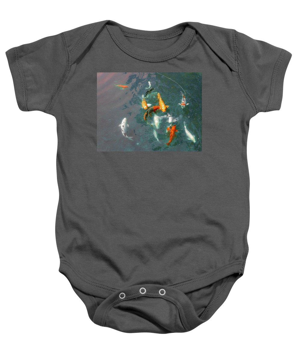 Koi Baby Onesie featuring the photograph Koi Symphony 1 Stylized by Anne Cameron Cutri
