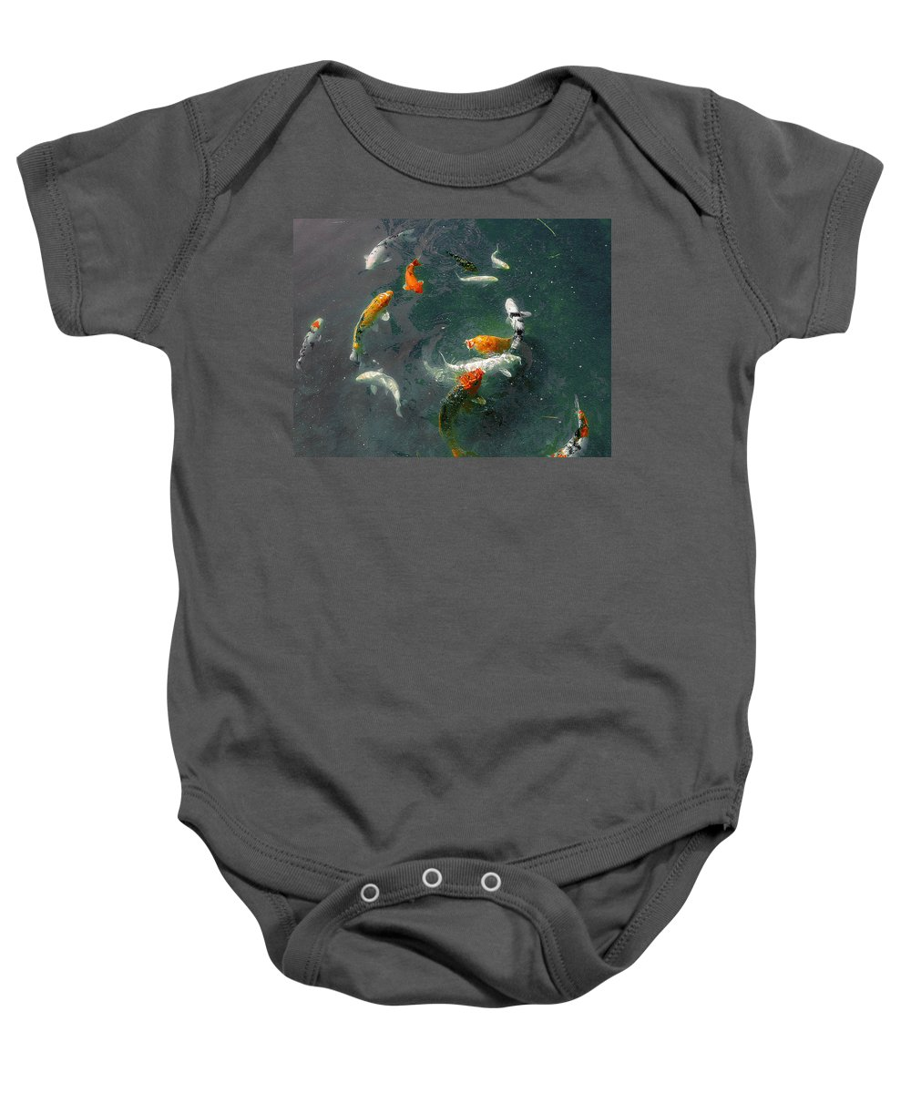 Koi Baby Onesie featuring the photograph Koi Symphony 2 Stylized by Anne Cameron Cutri