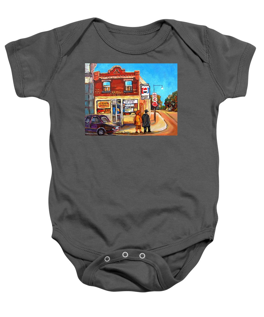 Kosher Bakery On Hutchison Baby Onesie featuring the painting Kosher Bakery On Hutchison by Carole Spandau