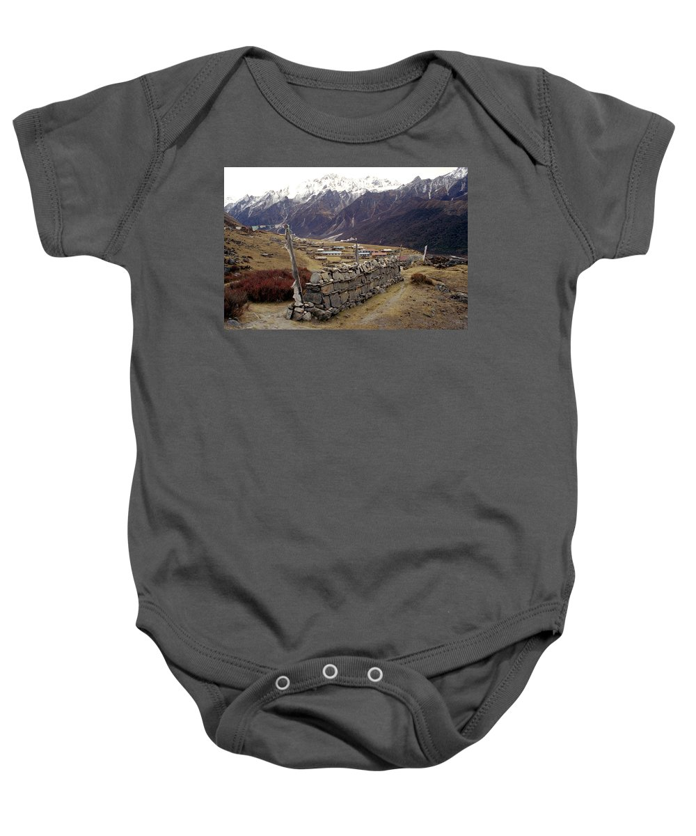 Langtang Baby Onesie featuring the photograph Kyanjin Gompa by Patrick Klauss