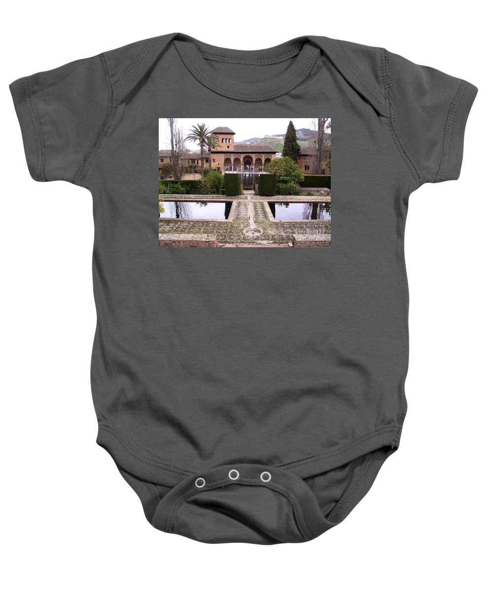Alhambra Baby Onesie featuring the photograph La Alhambra Garden by Thomas Marchessault