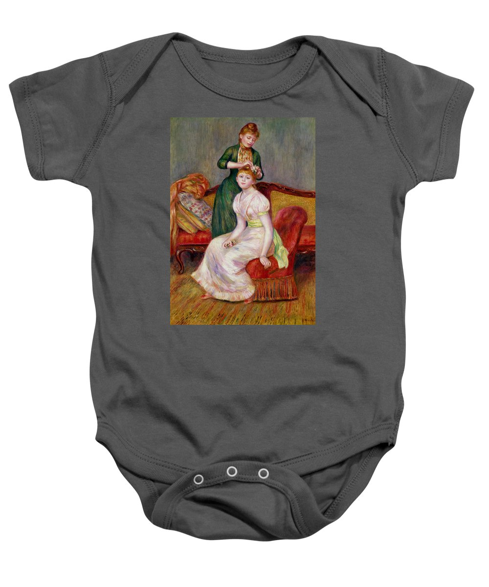 Coiffure Baby Onesie featuring the painting La Coiffure by Renoir