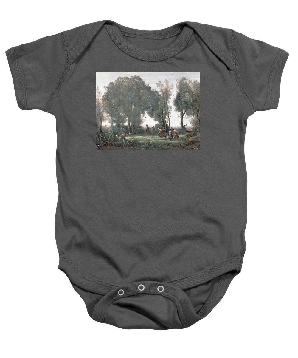 Corot Baby Onesie featuring the painting La Danse Des Nymphes by Jean Baptiste Camille Corot