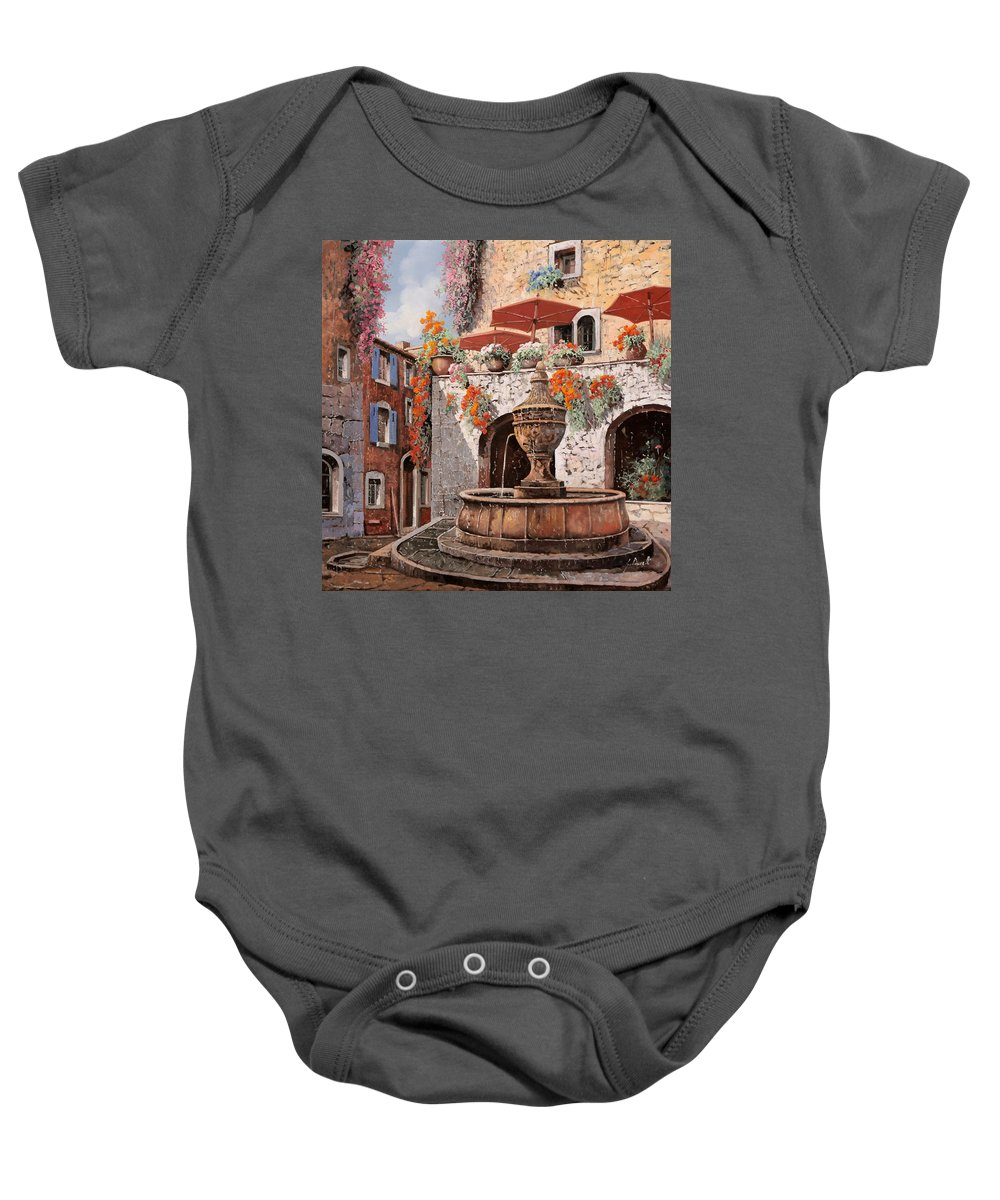 St Paul Baby Onesie featuring the painting la fontana a St Paul de Vence by Guido Borelli