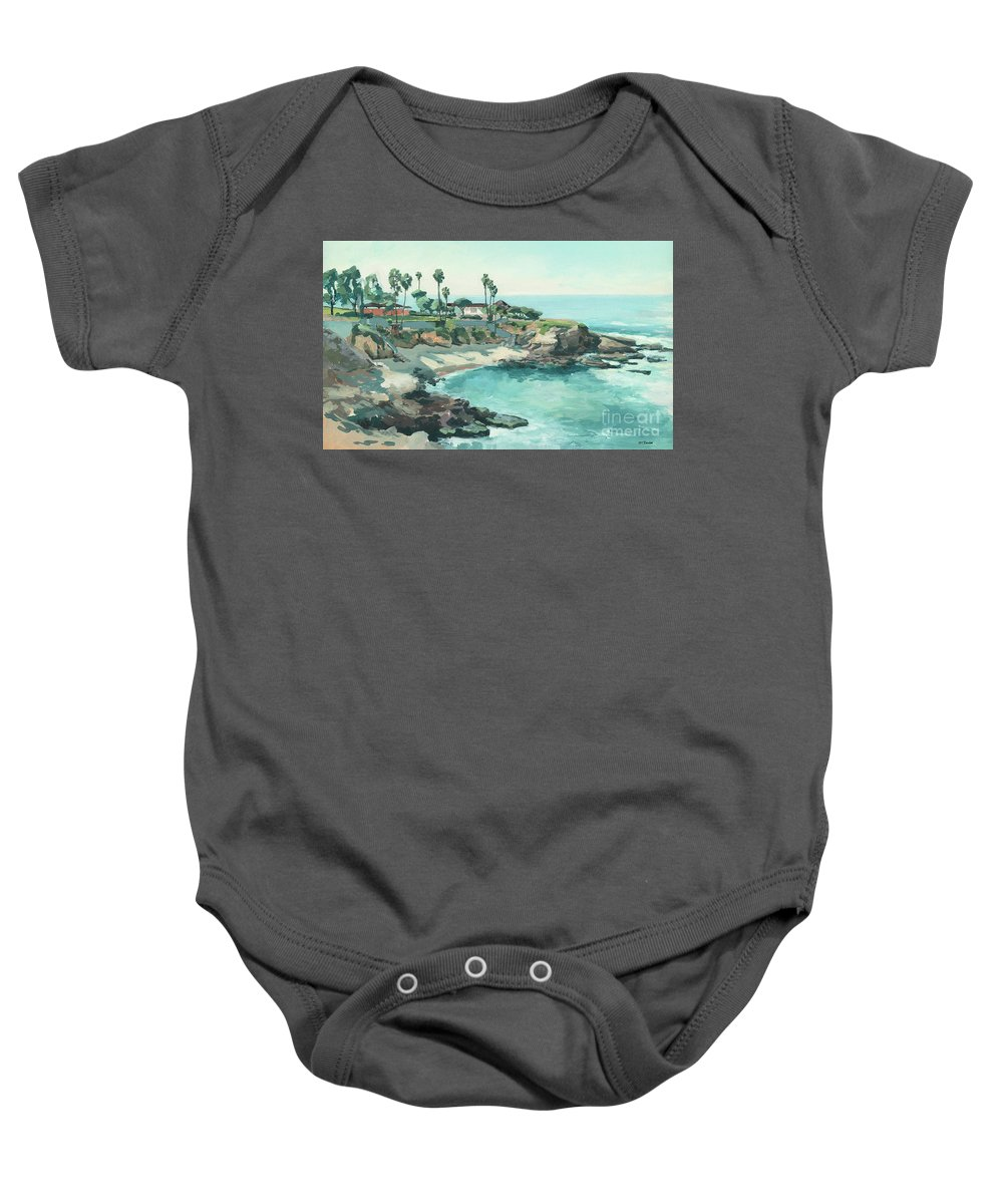 La Jolla Cove Baby Onesie featuring the painting La Jolla Cove In December, La Jolla, San Diego, California by Paul Strahm