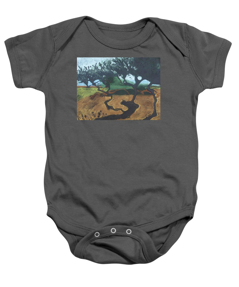 Contemporary Tree Landscape Baby Onesie featuring the drawing La Jolla I by Leah Tomaino