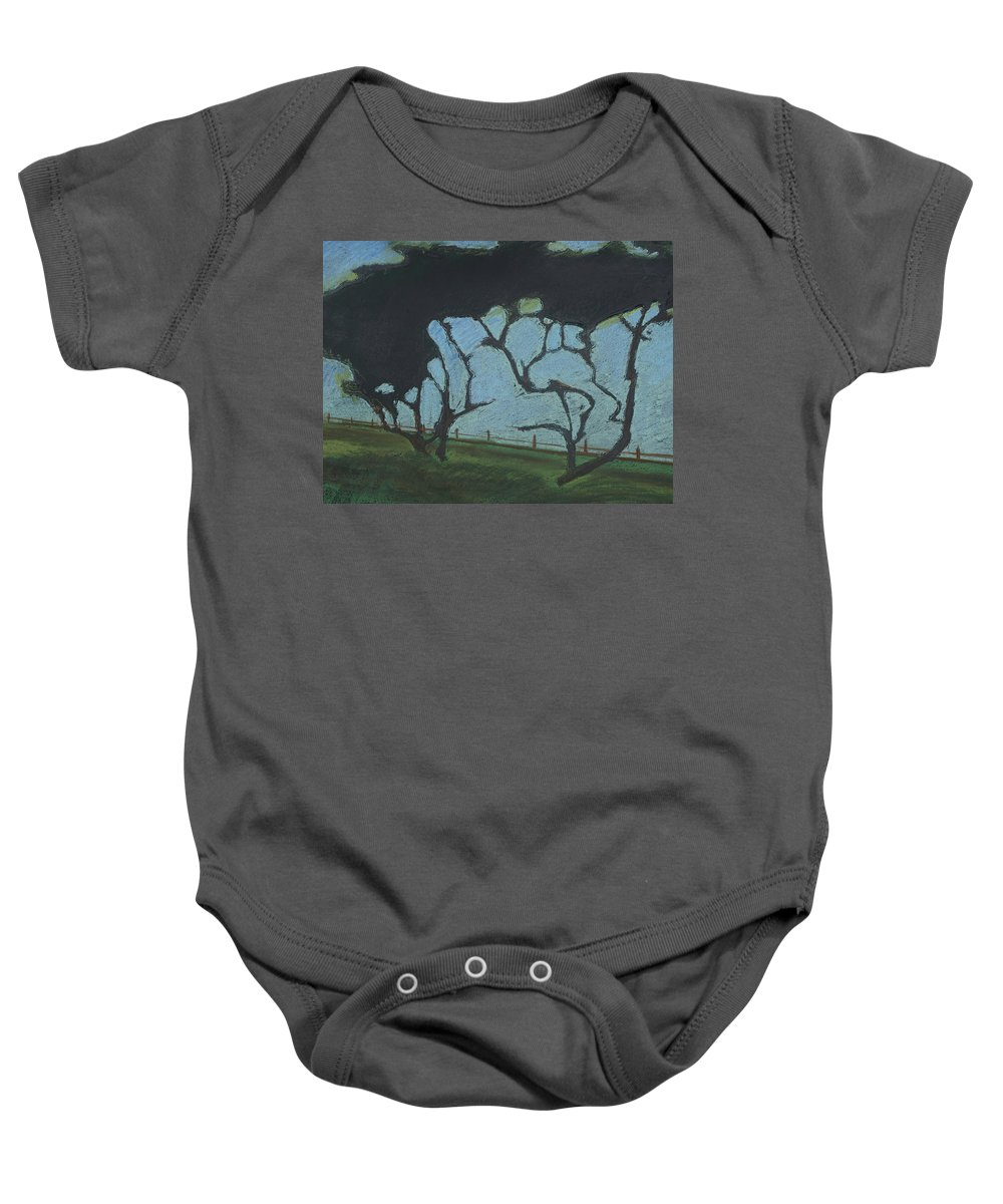 Contemporary Tree Landscape Baby Onesie featuring the mixed media La Jolla IIi by Leah Tomaino