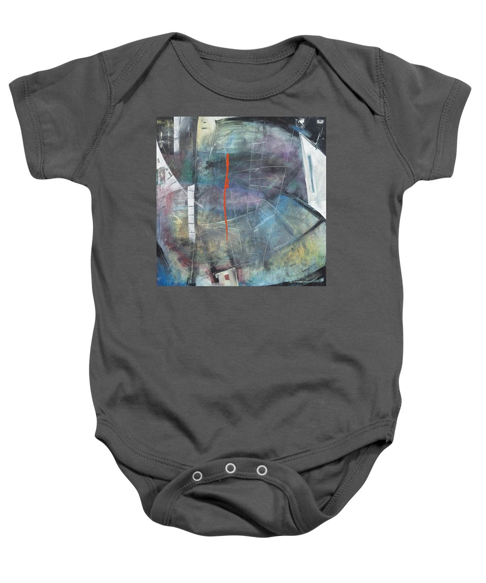 Abstract Baby Onesie featuring the painting La Mort Au Cirque by Tim Nyberg