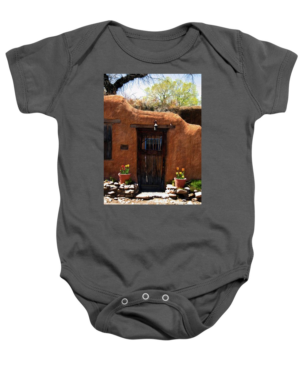Door Baby Onesie featuring the photograph La Puerta Marron Vieja - The Old Brown Door by Kurt Van Wagner