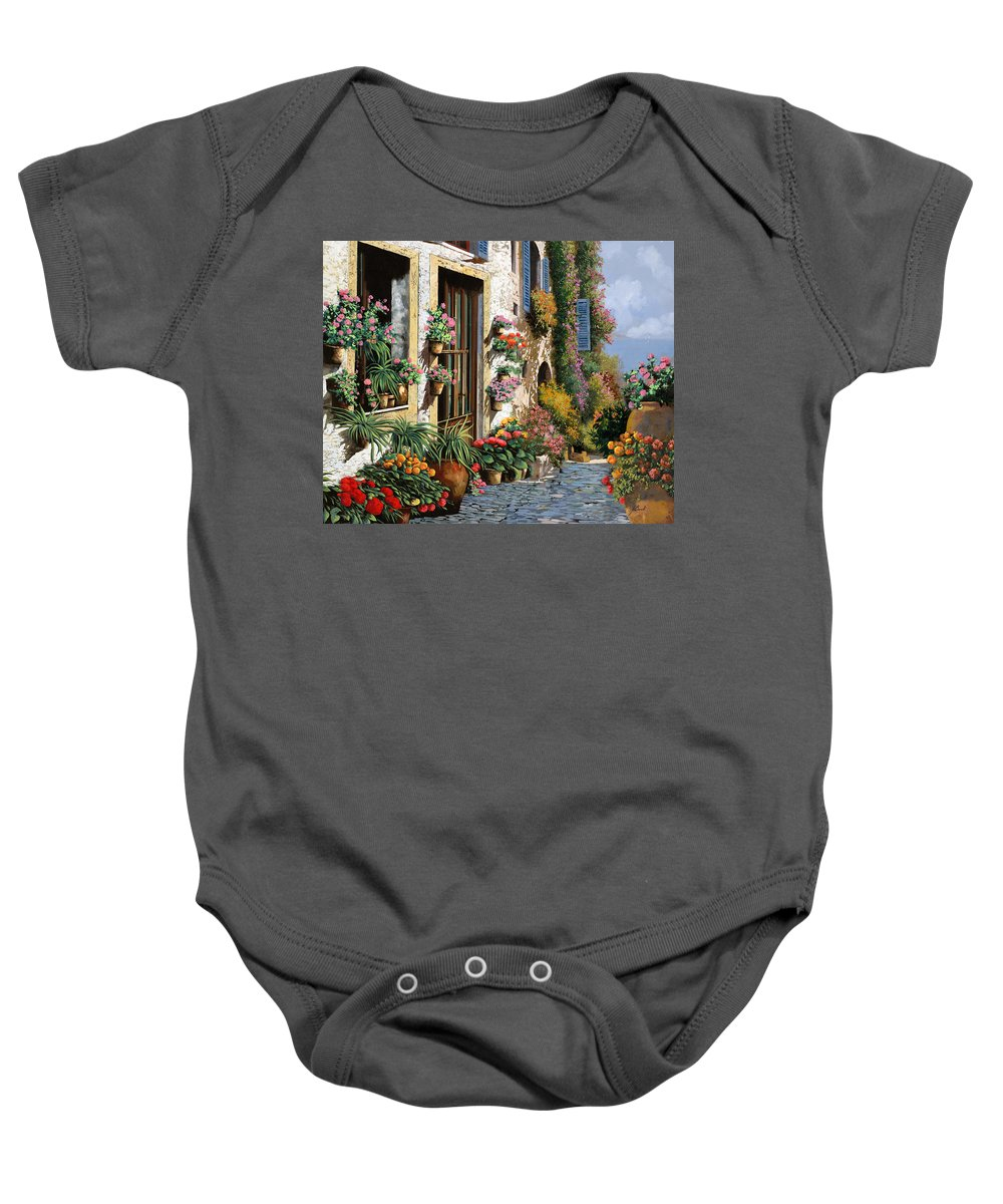 Seascape Baby Onesie featuring the painting La Strada Del Lago by Guido Borelli