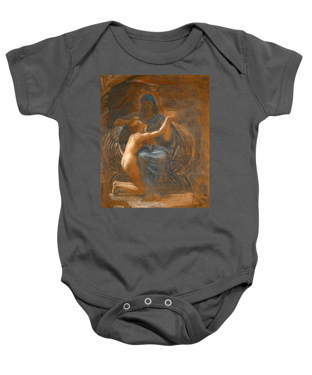 William Blake Richmond Baby Onesie featuring the drawing La Vierge Consolatrice by William Blake Richmond