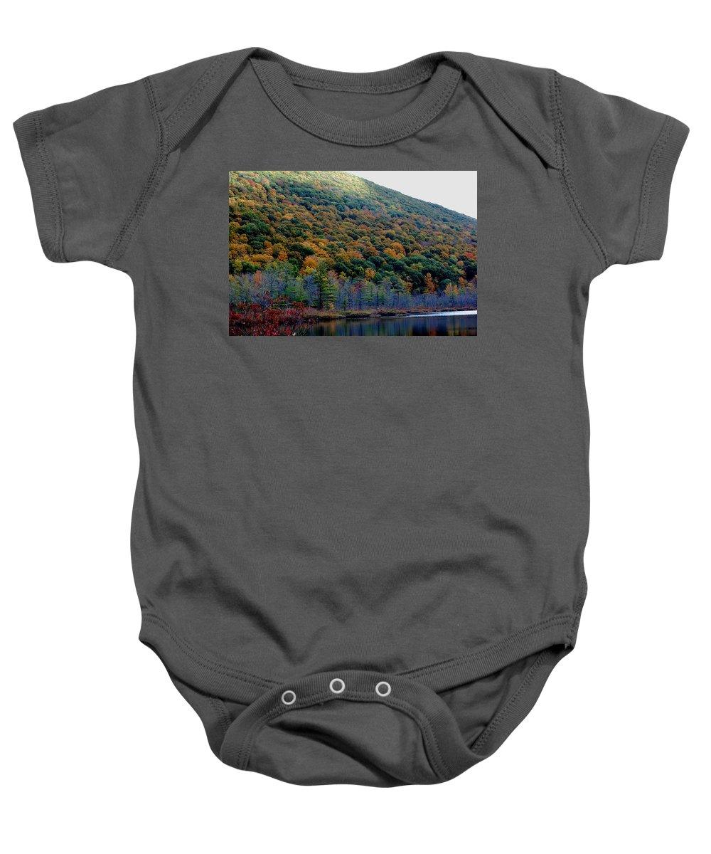 Digital Photograph Baby Onesie featuring the photograph Labrador Pond Hillside by David Lane