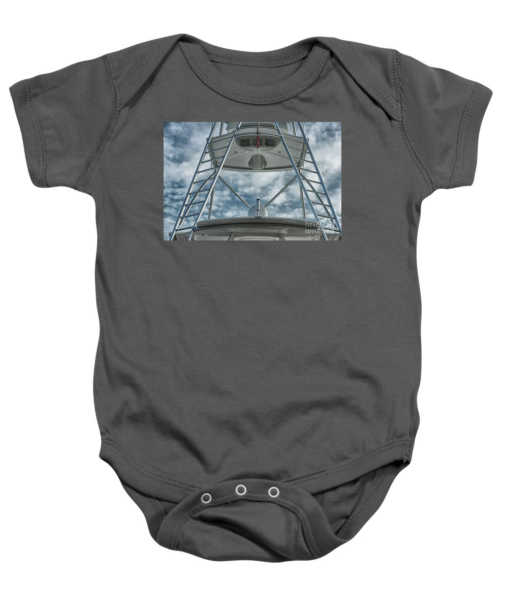 Ladders Baby Onesie featuring the photograph Ladders On A Fishing Boat by Les Palenik