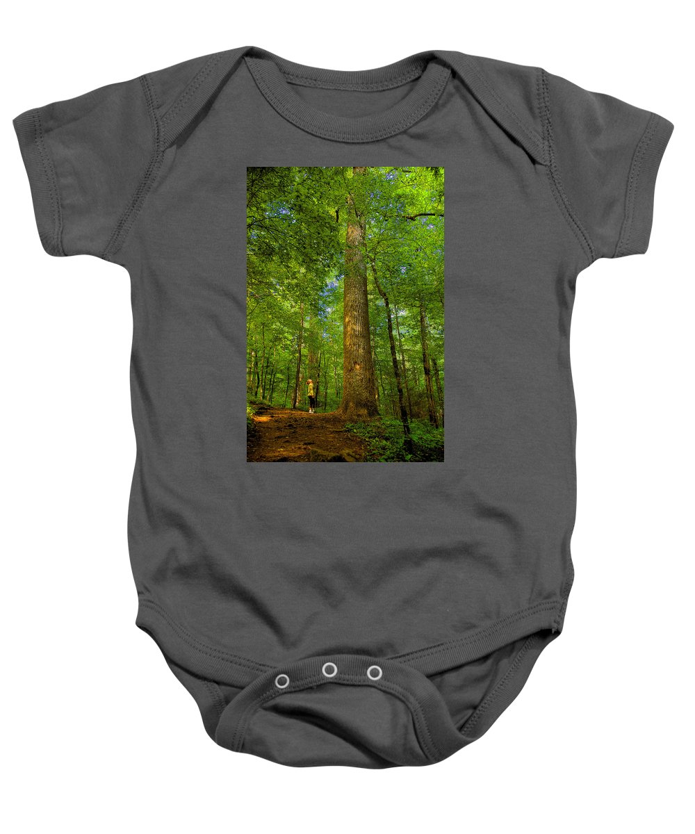 Forest Baby Onesie featuring the painting Lady And The Tree by David Lee Thompson