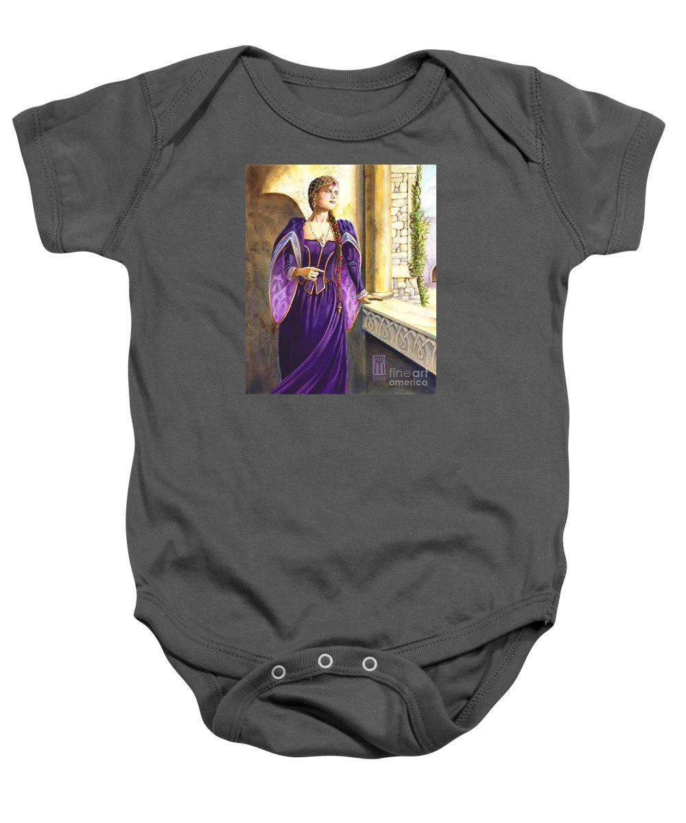 Camelot Baby Onesie featuring the painting Lady Ettard by Melissa A Benson