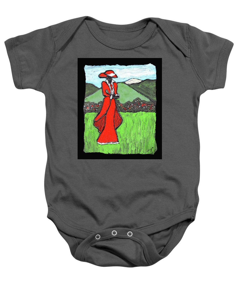 Red Baby Onesie featuring the painting Lady In Red by Wayne Potrafka