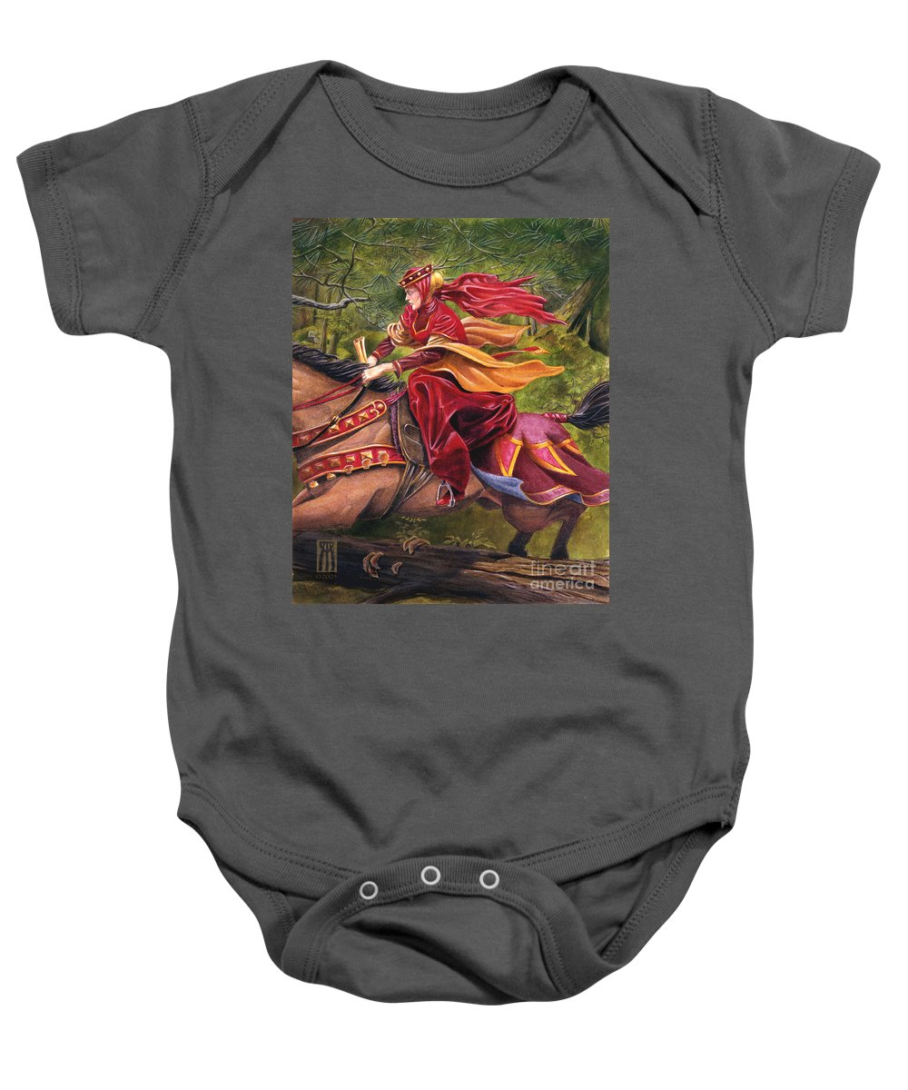 Camelot Baby Onesie featuring the painting Lady Lunete by Melissa A Benson