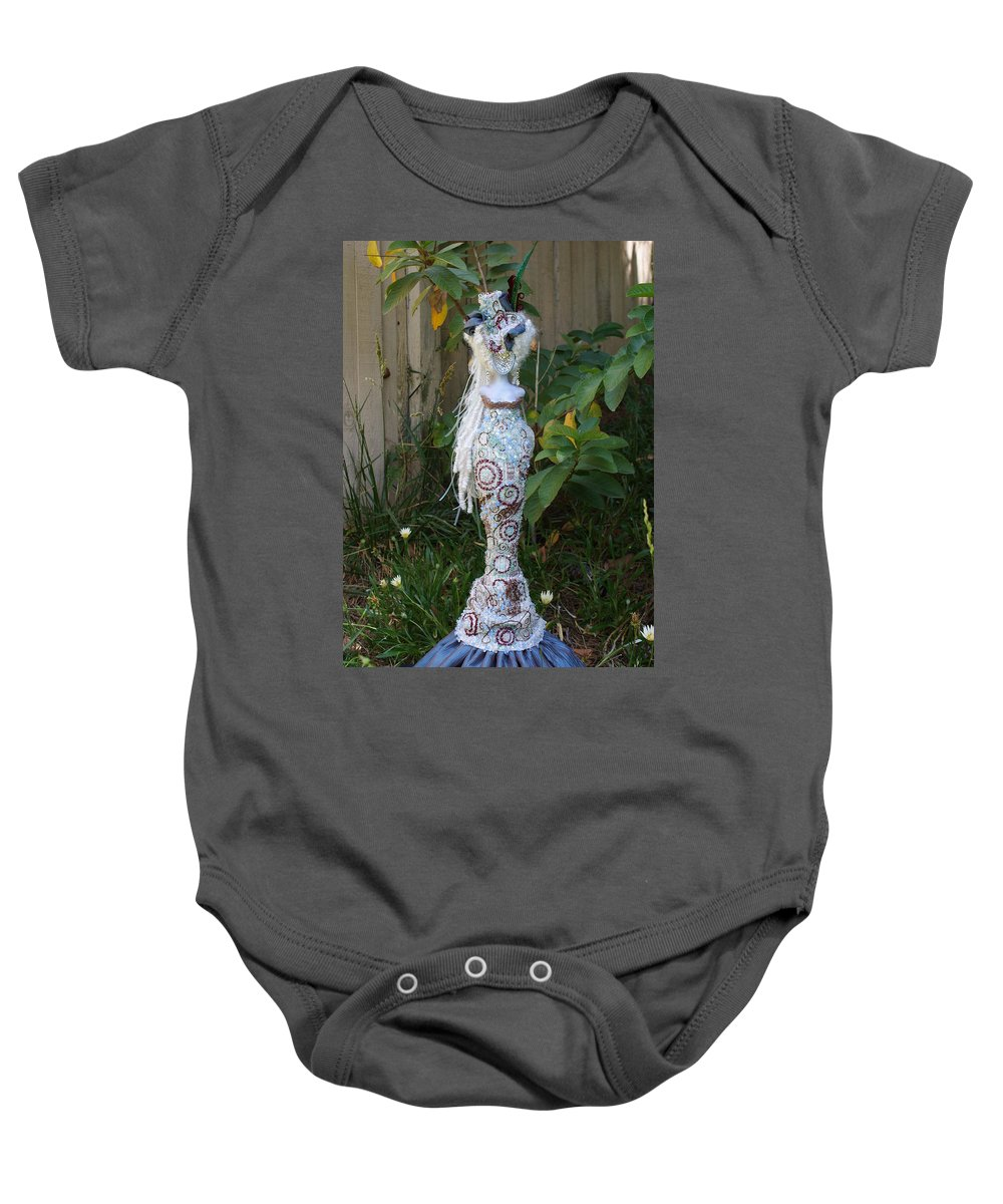 Lady M Art Doll Baby Onesie featuring the mixed media Lady M by Judy Henninger