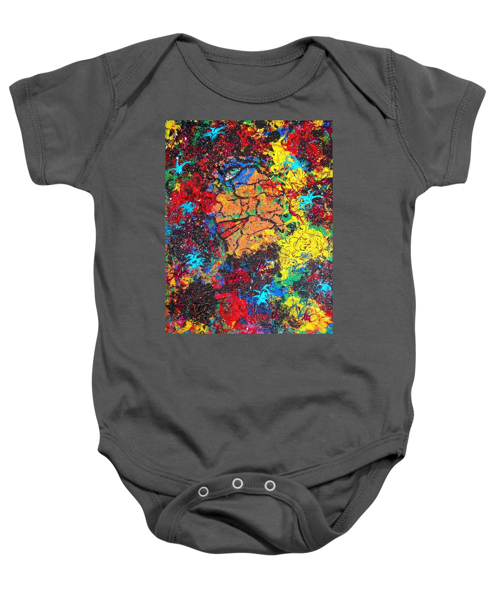 Woman Baby Onesie featuring the painting Lady Of Mystery by Natalie Holland
