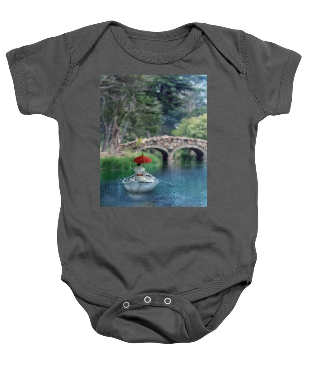 Beautiful Baby Onesie featuring the photograph Lady With Parasol In Boat by Jill Battaglia