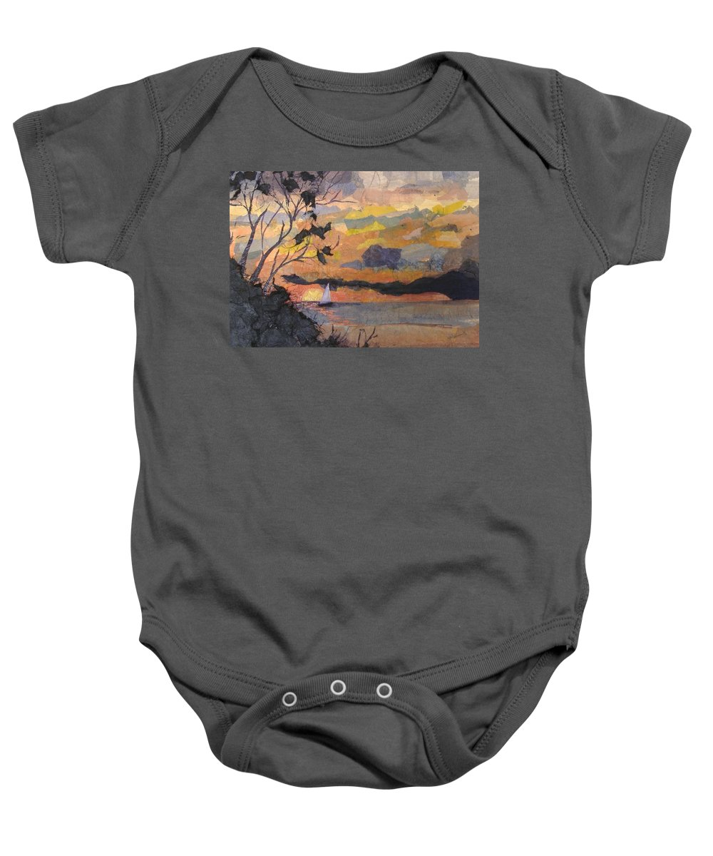 Seascape Baby Onesie featuring the mixed media Lake Erie Sunset by Pat Snook
