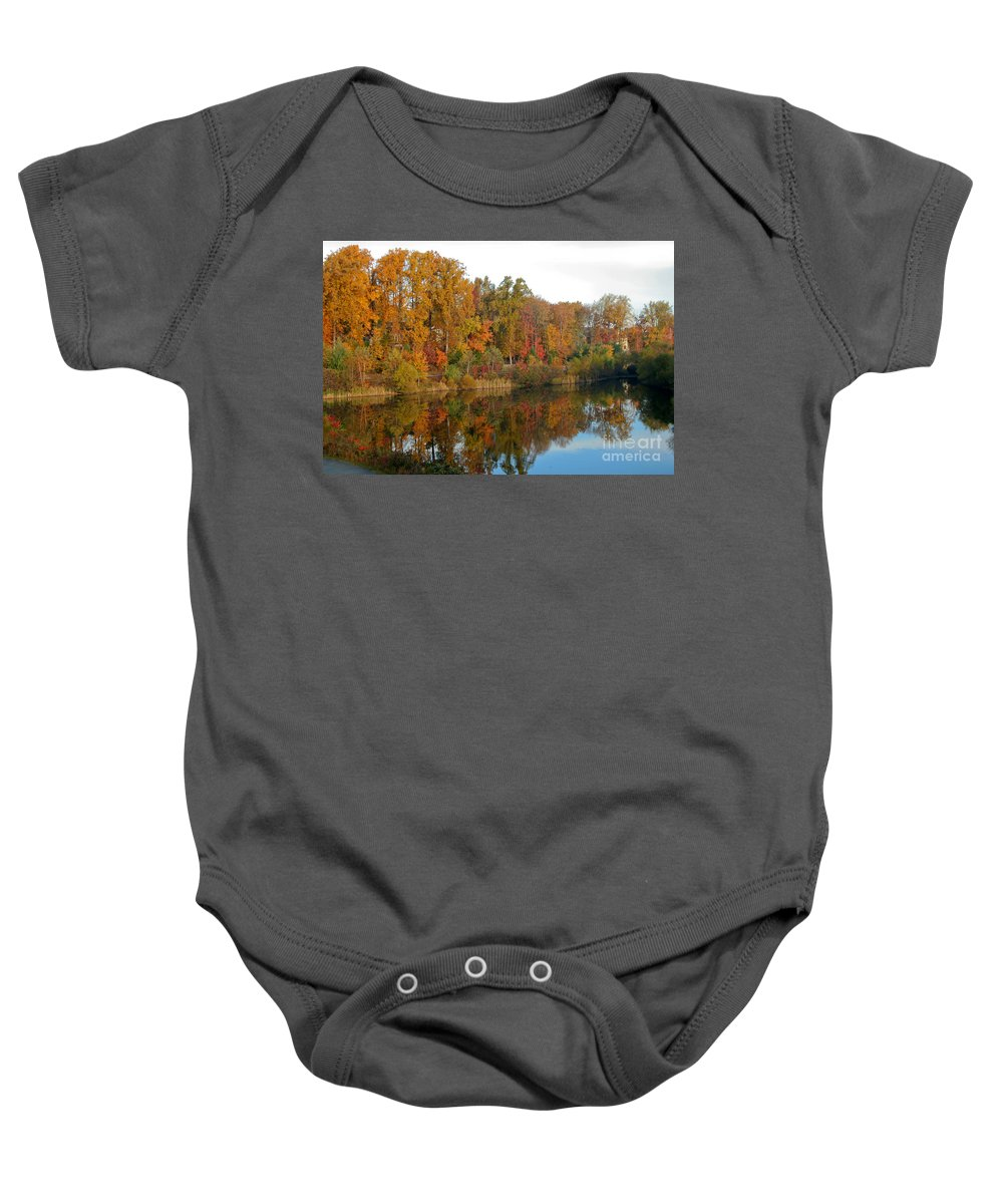 Fall Baby Onesie featuring the photograph Lake Helene And Fall Foliage by Thomas Marchessault