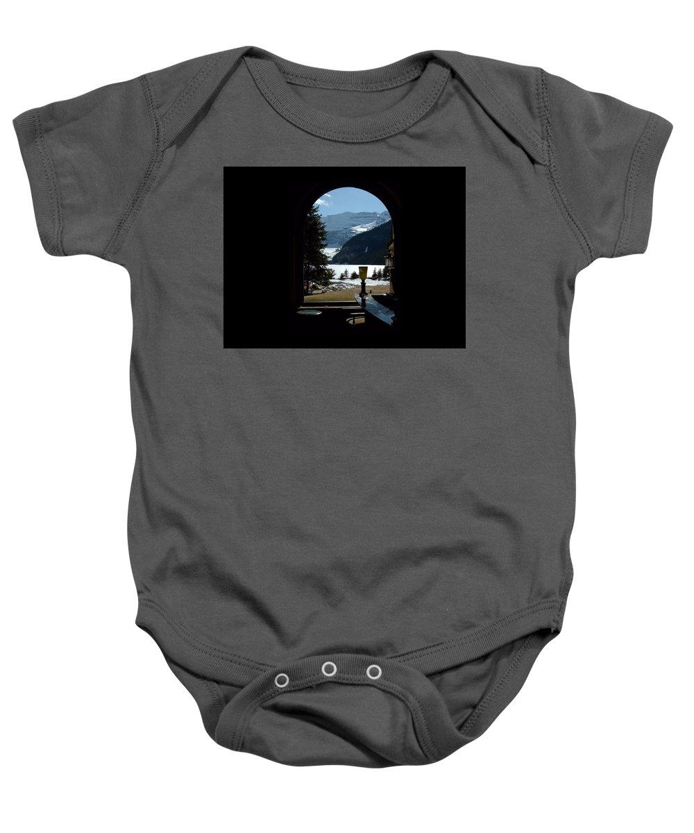 Digital Art Baby Onesie featuring the digital art Lake Louise Inside View by Max DeBeeson