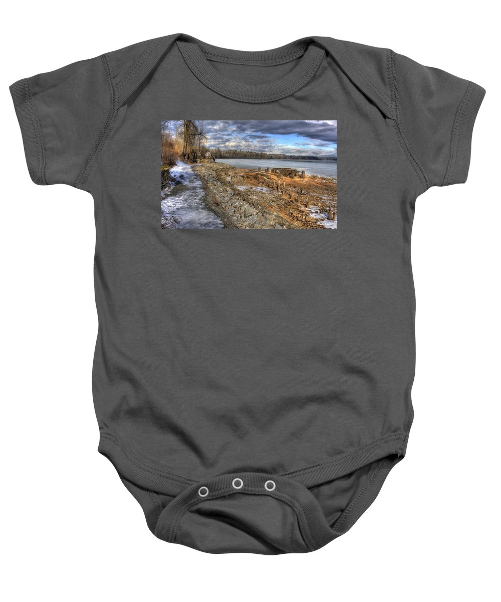 Landscape Baby Onesie featuring the photograph Lake Pend D'oreille At Humbird Ruins 2 by Lee Santa