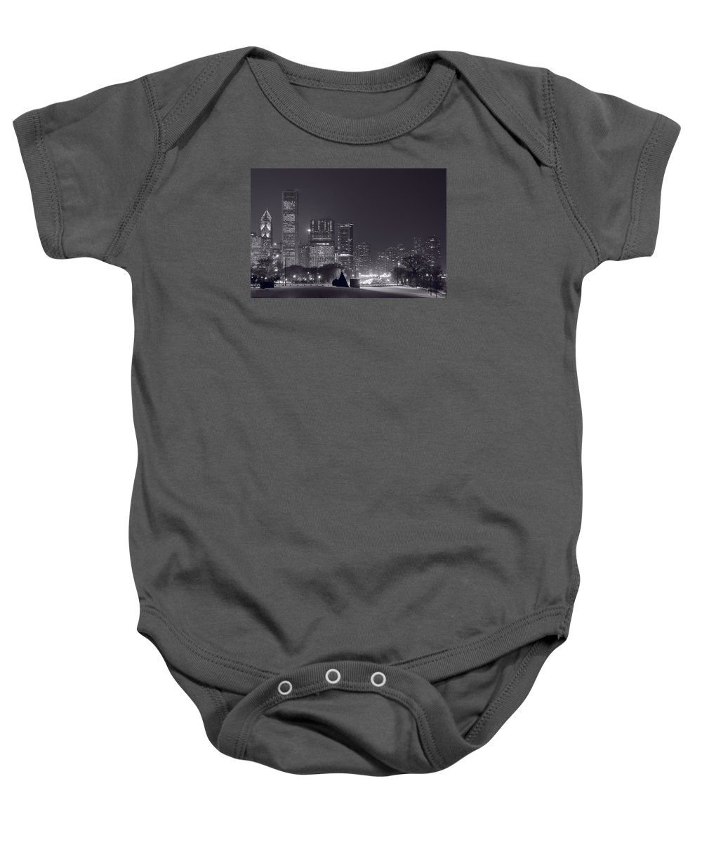 Building Baby Onesie featuring the photograph Lake Shore Drive Chicago B And W by Steve Gadomski