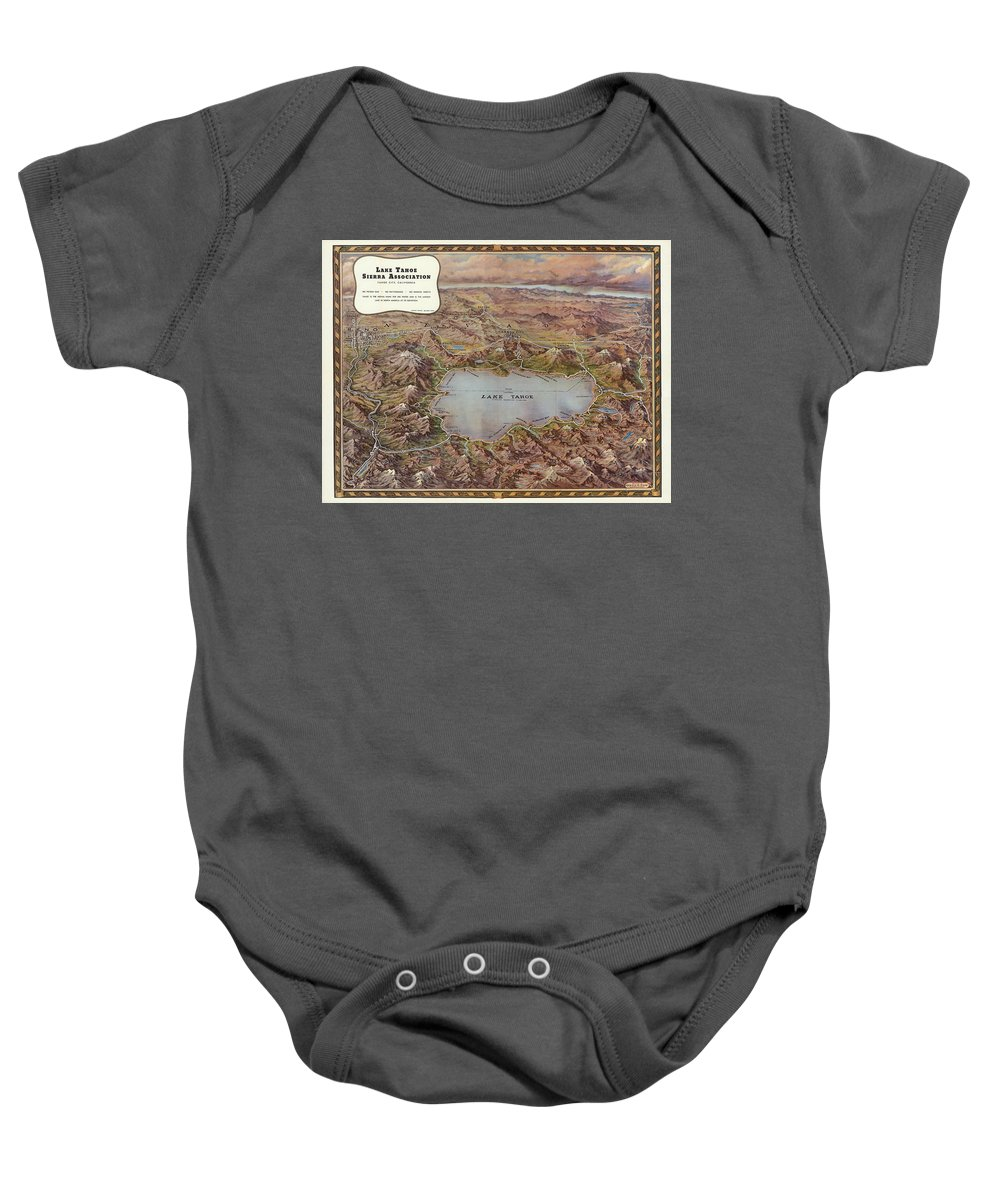 Bird's Eye View Baby Onesie featuring the painting Lake Tahoe by Gerald A