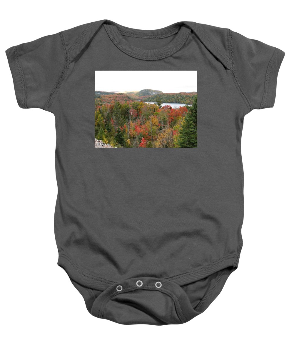 Fall Baby Onesie featuring the photograph Lakeside by Kelly Mezzapelle
