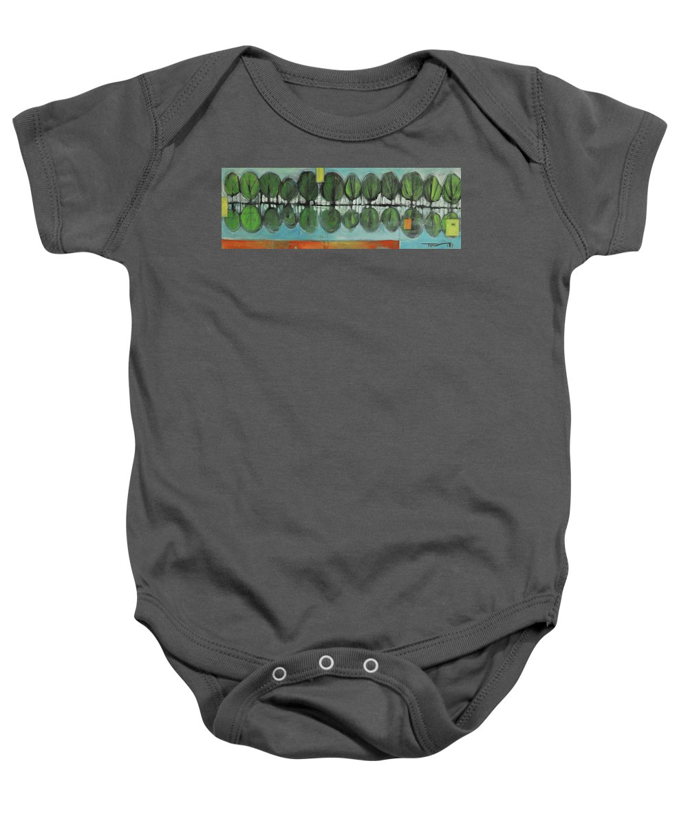 Trees Baby Onesie featuring the painting Lakeside Trees by Tim Nyberg