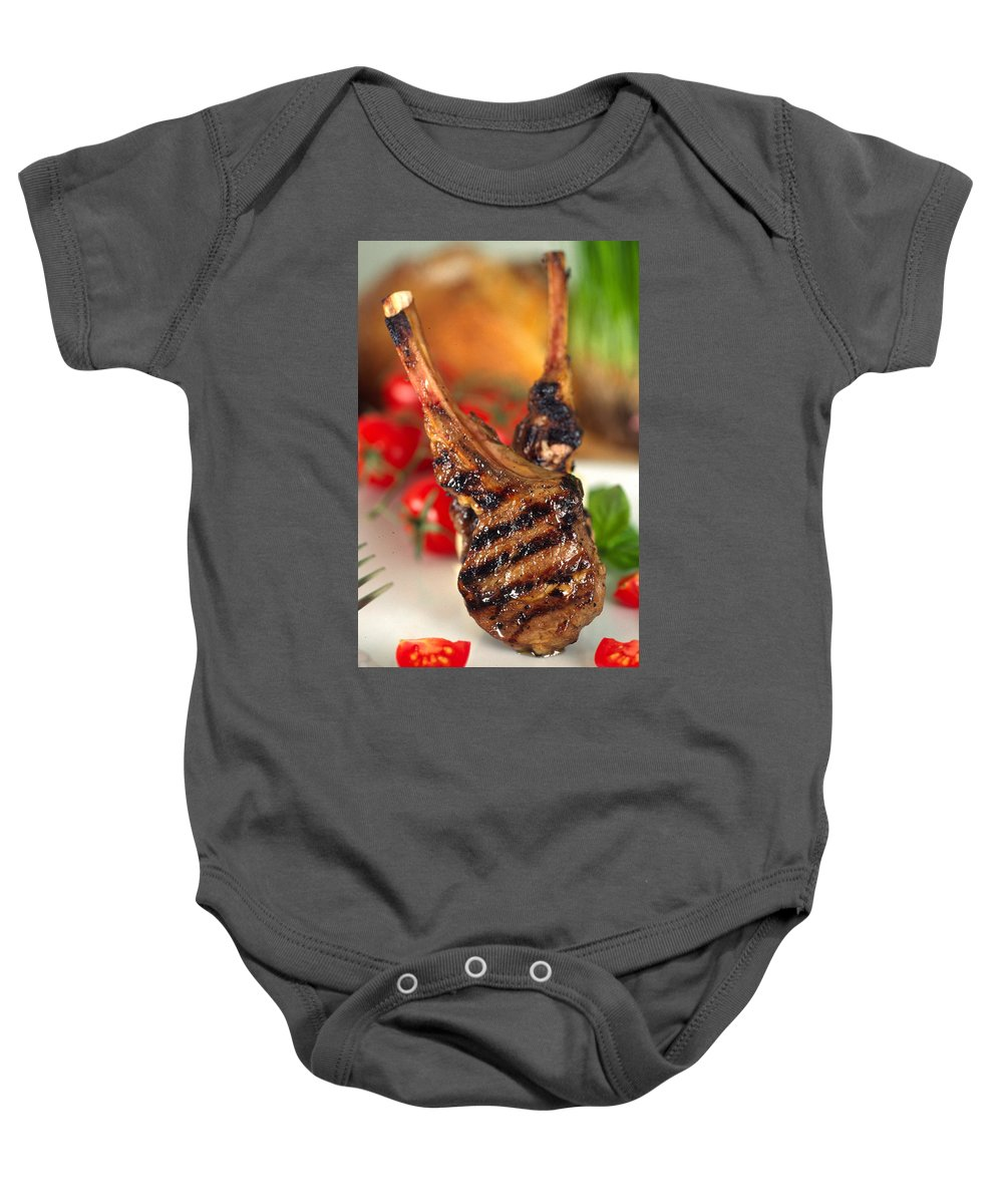 Lamb Chop Baby Onesie featuring the photograph Lamb Chop Three by Mike Penney
