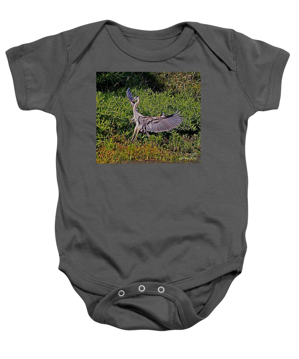 Bird Baby Onesie featuring the photograph Landing On A Dime by Robert Pearson