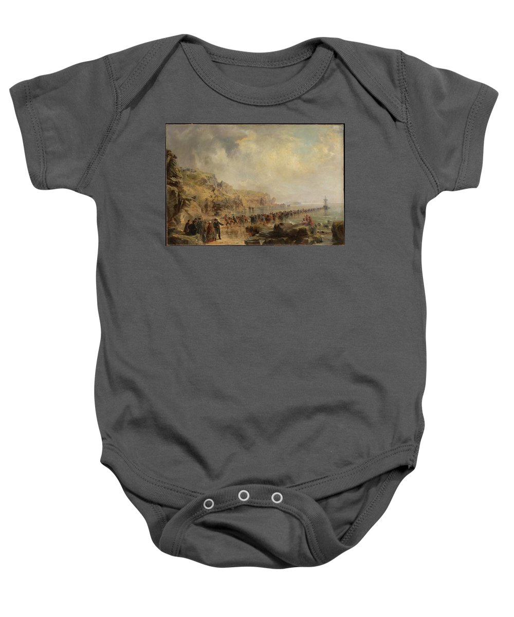 Robert Charles Dudley Landing The Shore End Of The Atlantic Cable Baby Onesie featuring the painting Landing The Shore End Of The Atlantic Cable by Robert Charles Dudley